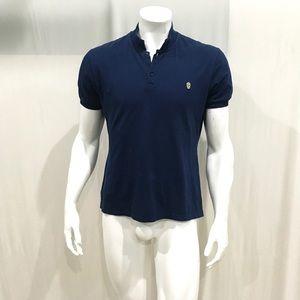 Alexander Mc Queen Men's Blue Skull Polo Shirt